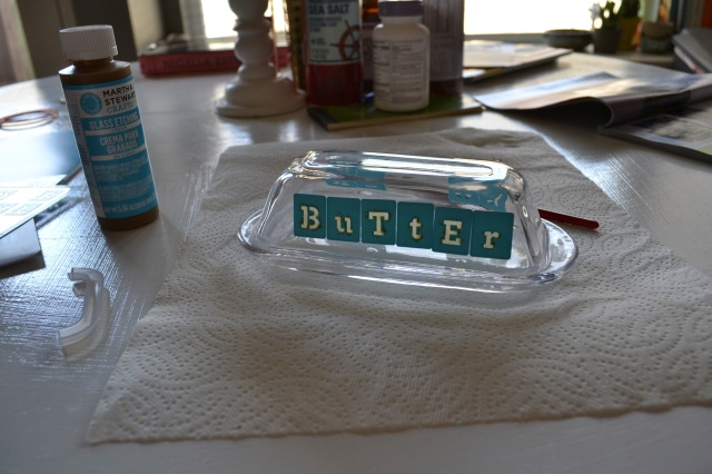 glass etched butter dish